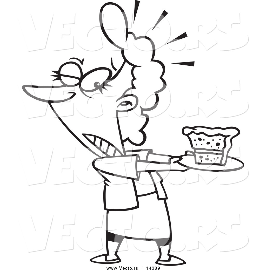 1024x1044 Vector Of Cartoon Tempted Woman Holding Slice Of Cake On