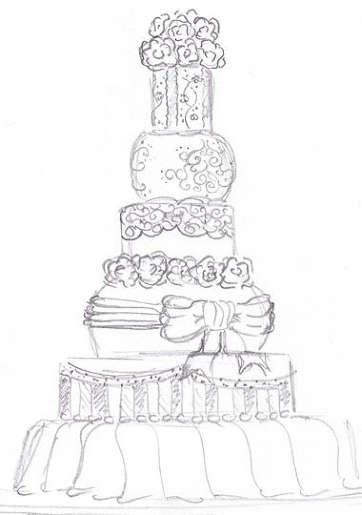 721x1024 Wedding Cake Drawn Wedding Cake Pencil Drawing Pencil And