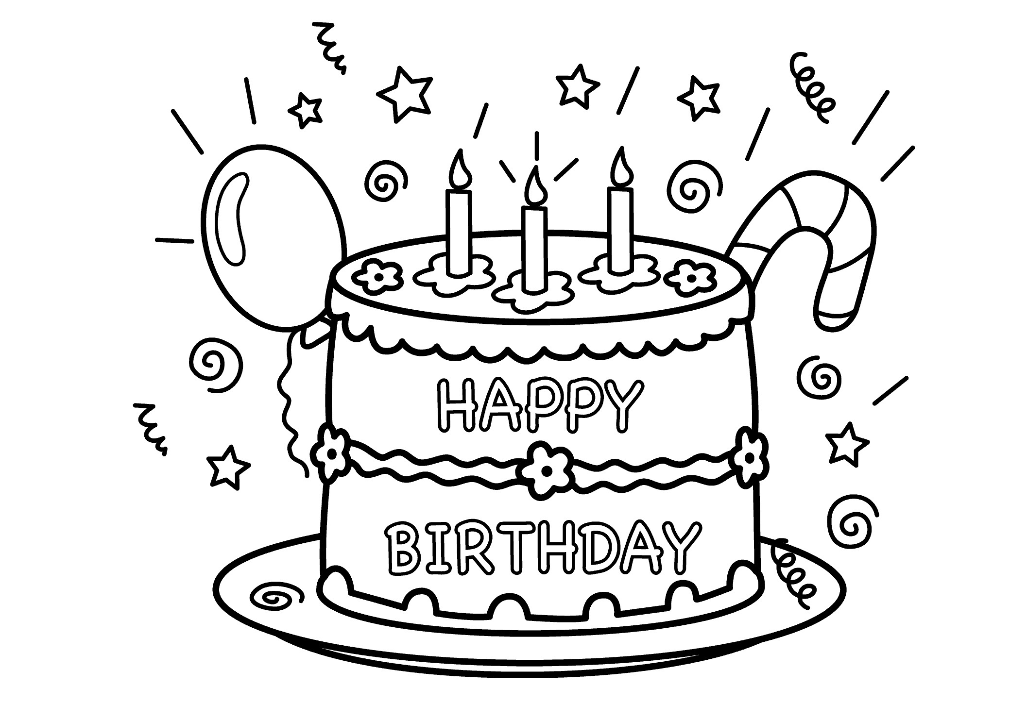 2079x1483 Cake Clipart Coloring Page