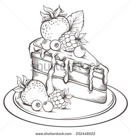 450x470 Drawn Cake Line Drawing