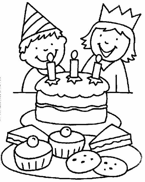 567x714 Fascinating Birthday Cake Coloring Page 38 On Line Drawings
