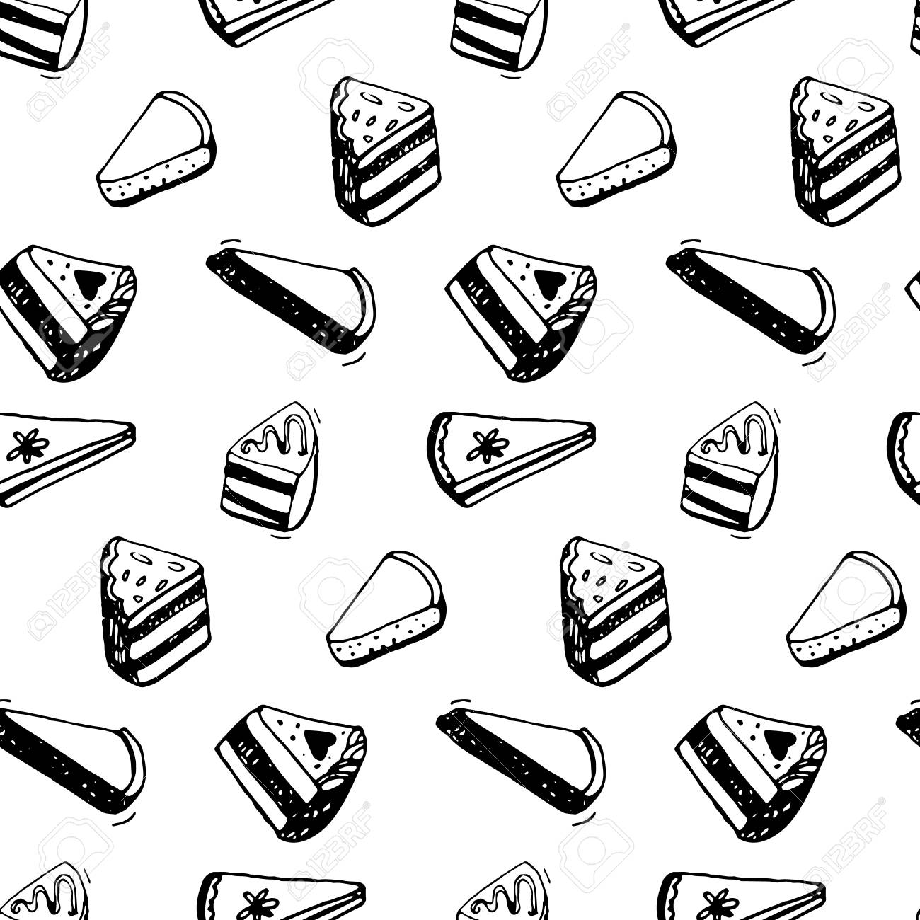 1300x1300 Piece Of Cake Pattern. Black Ink Sketch Drawing Of Desserts