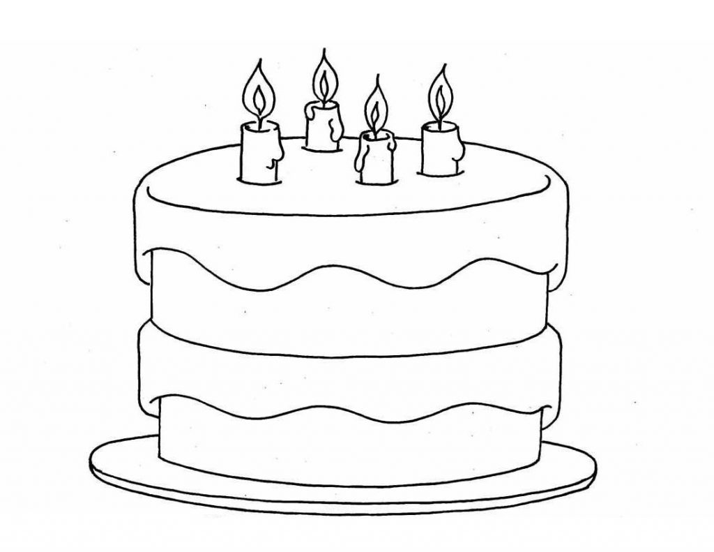 1024x791 Simple Birthday Cake Drawing Birthday Cake Color Pages Activity