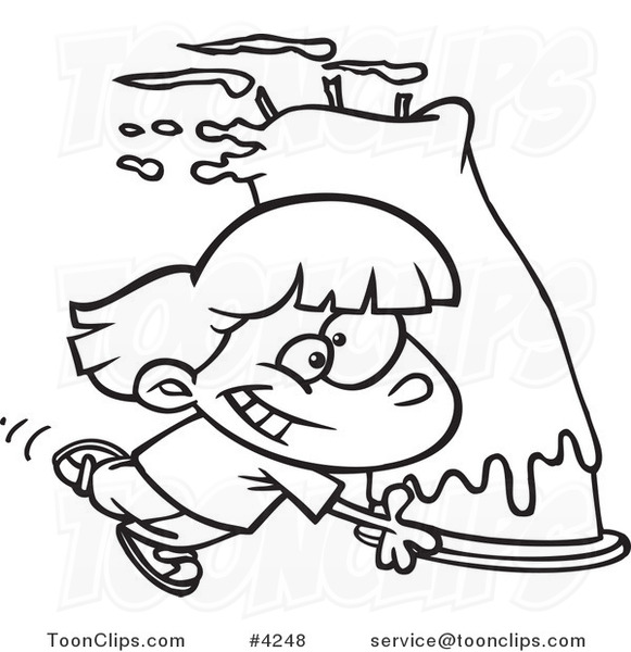 581x600 Cartoon Black And White Line Drawing Of A Girl Carrying A Big
