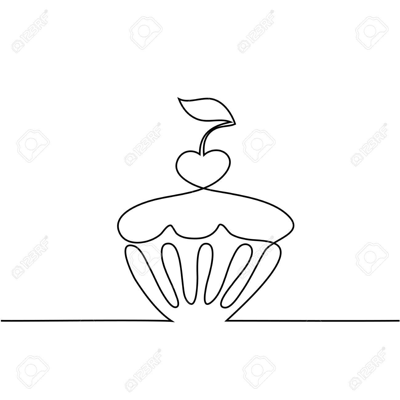 1300x1299 Cup Cake With Cherry. Continuous Line Drawing Design Vector