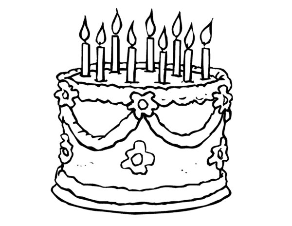 600x464 Girl And Birthday Cake Coloring Page
