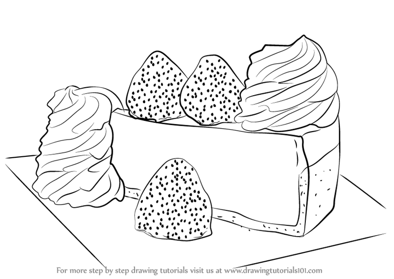 800x566 Learn How To Draw A Cheese Cake (Cakes) Step By Step Drawing