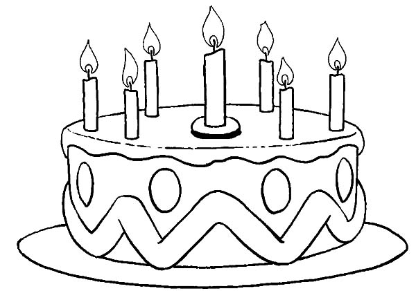 600x421 Marvelous Birthday Cake Coloring Page 95 In Line Drawings