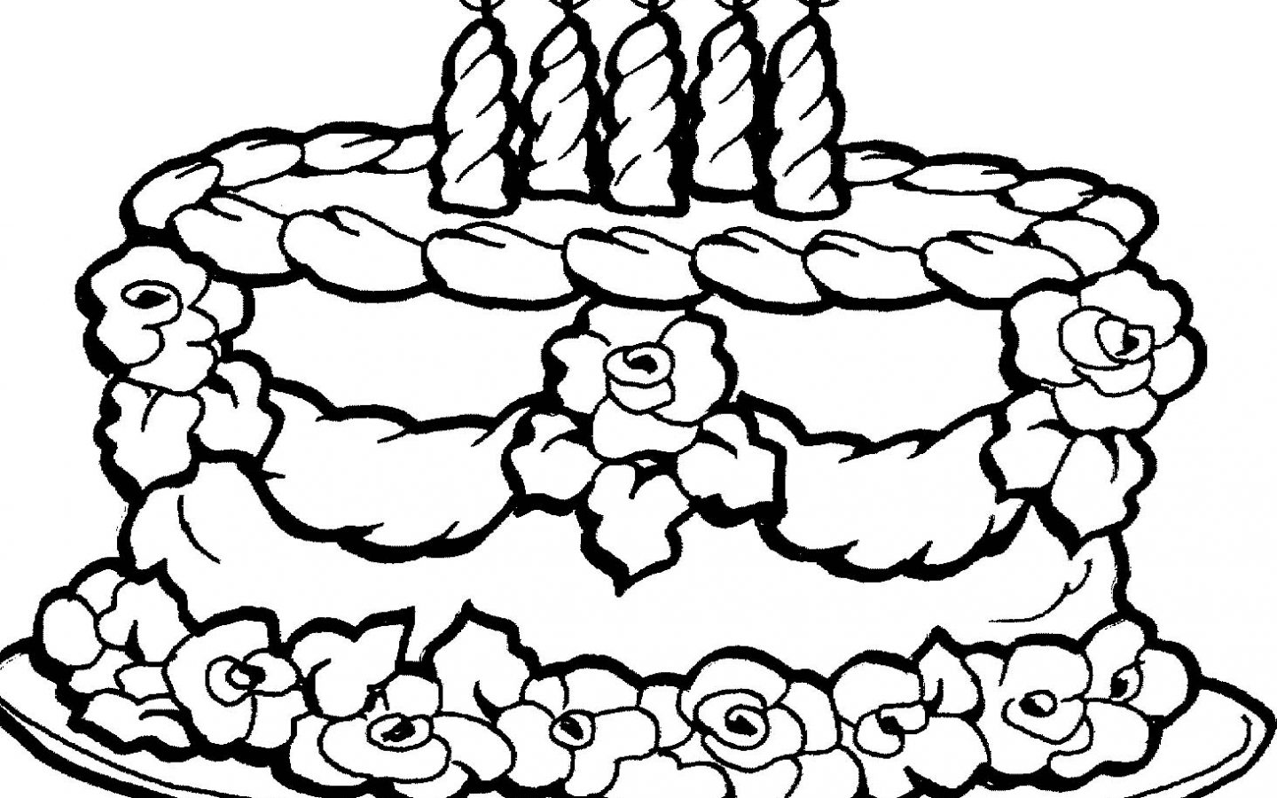 1440x900 Pictures Birthday Cake Coloring Pages For Your Line Kids Simple