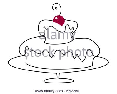 398x320 Birthday Cake One Line Drawing Stock Vector Art Amp Illustration