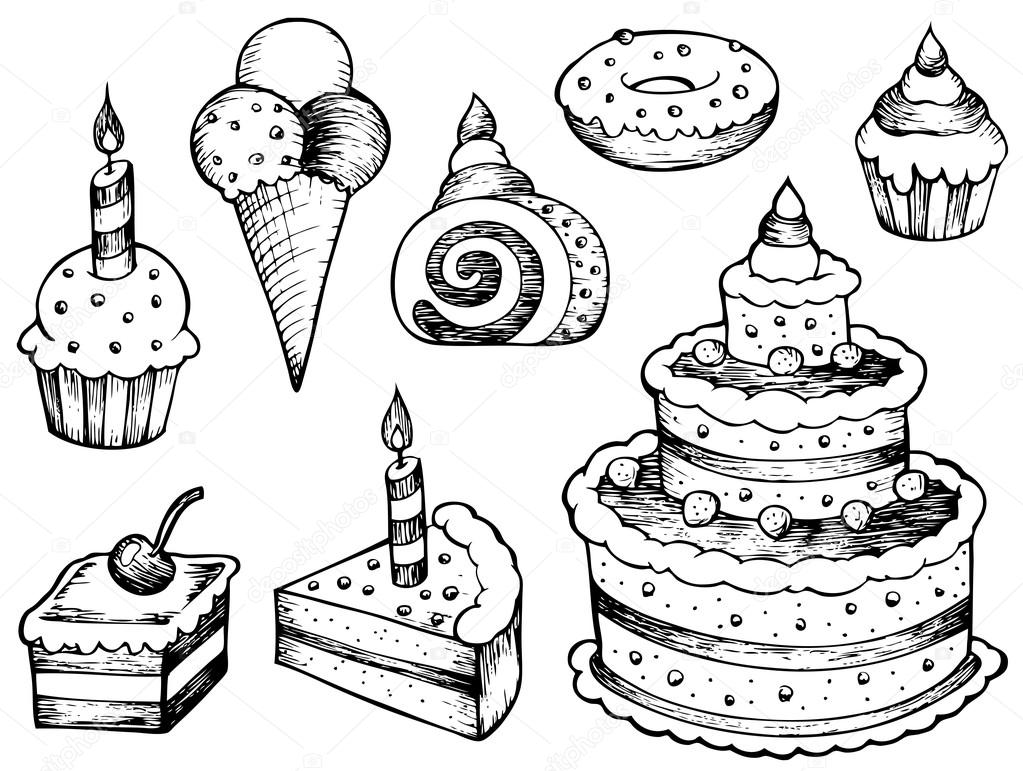 1023x771 Cakes Drawings Collection Stock Vector Clairev