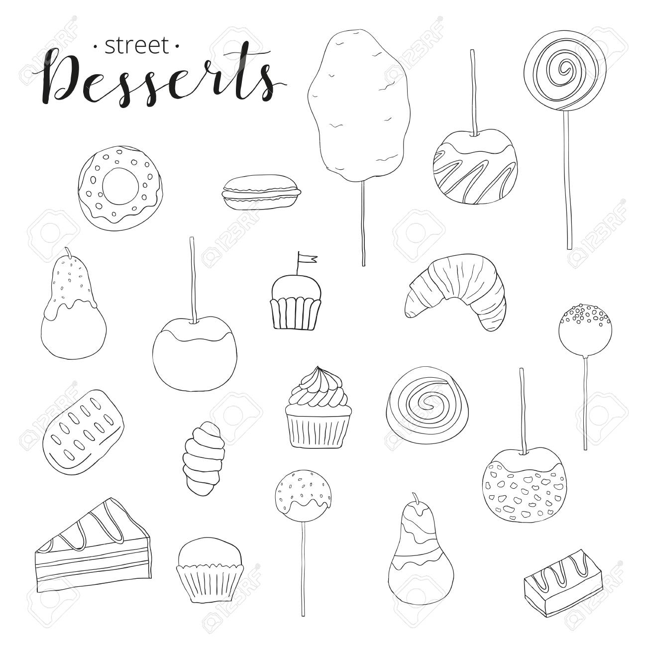 1300x1300 Collection Of Hand Drawn Desserts. Cotton Candy, Caramel Apple