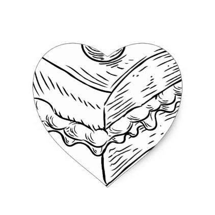 422x422 Cake Slice Vintage Retro Woodcut Style Heart Sticker