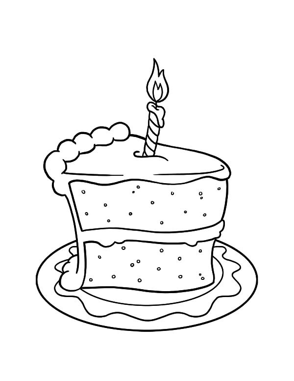 600x776 Cake Slice With Candle On It Coloring Pages Best Place To Color
