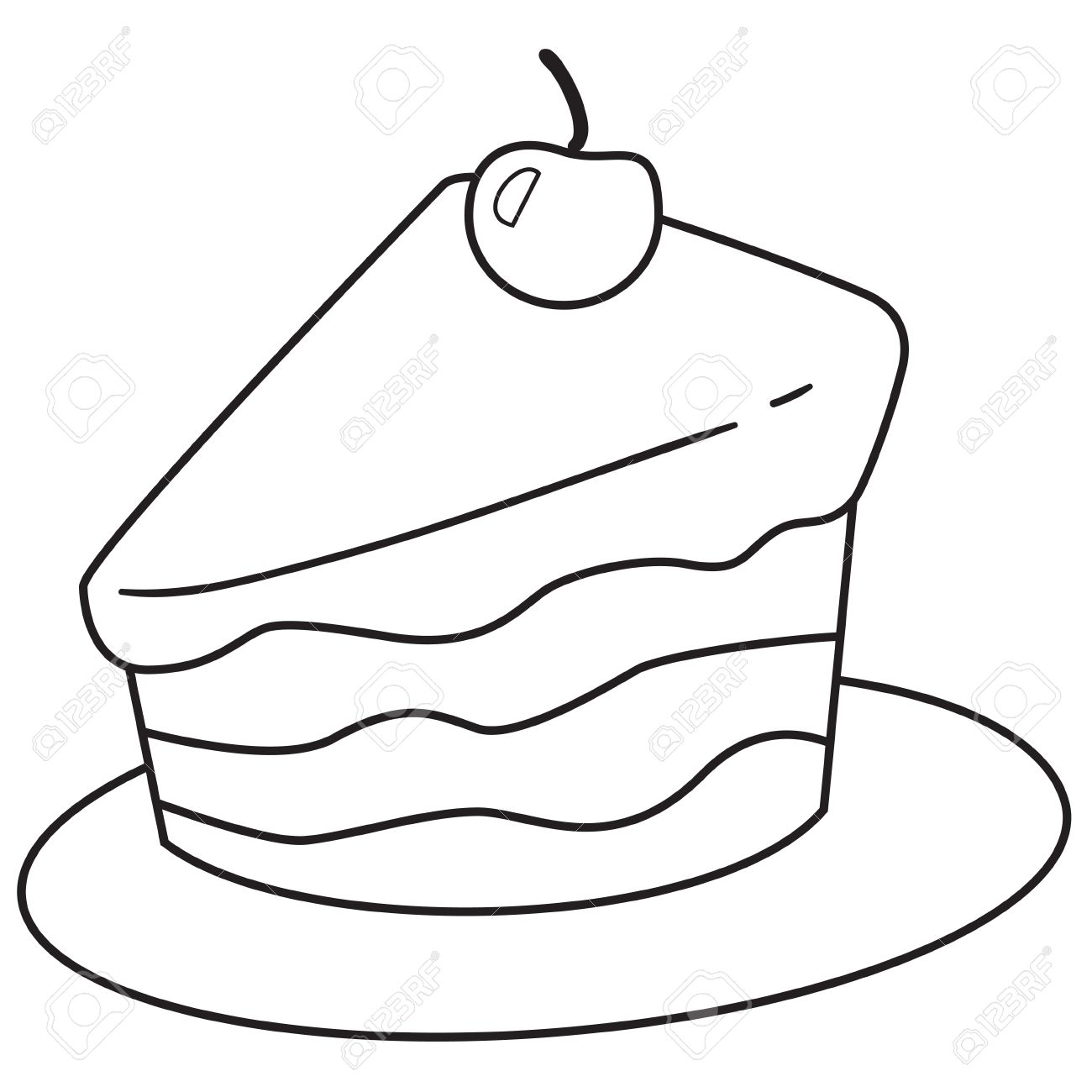 1300x1300 Vector Illustration Of Cake Slice In Black And White Outlined