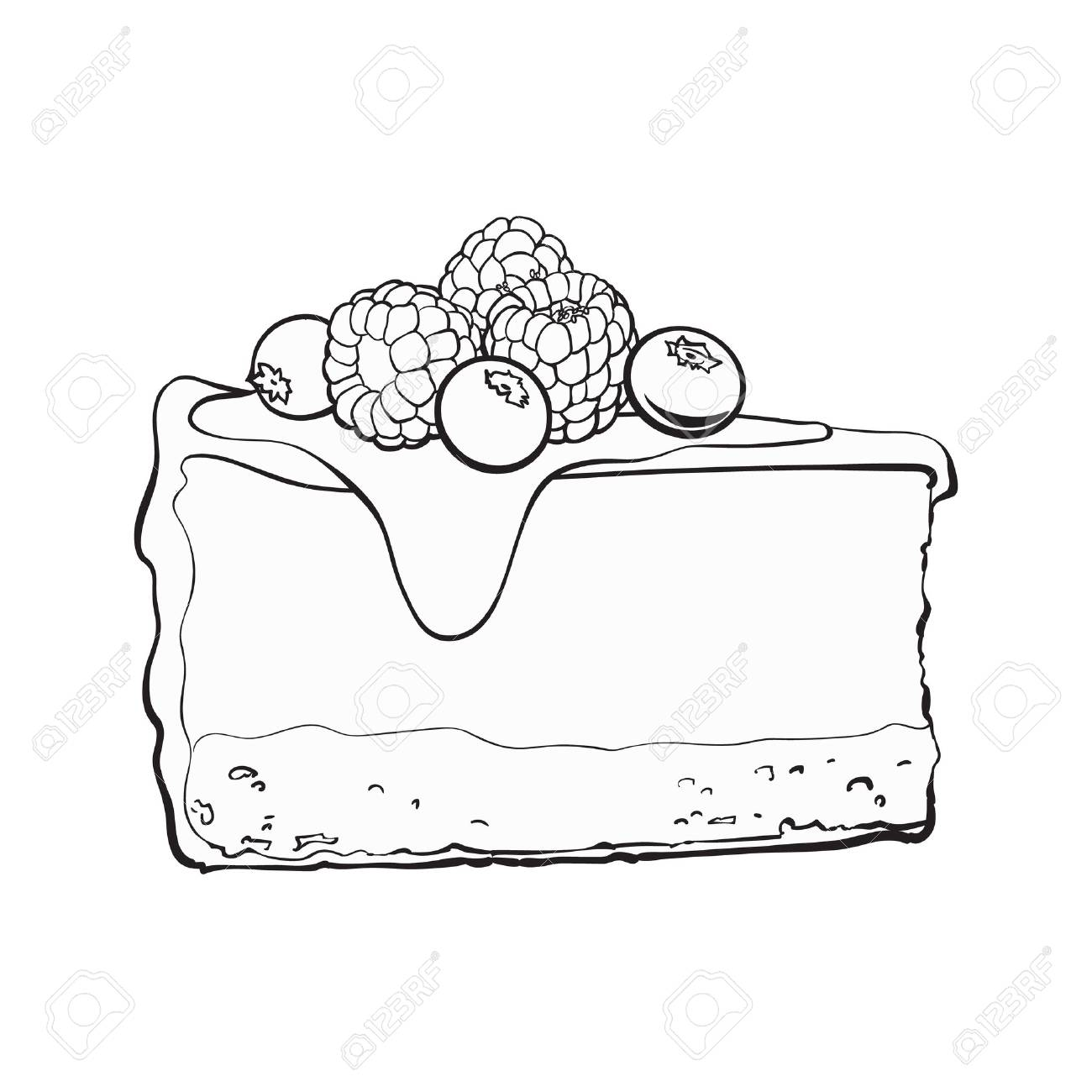 1300x1300 Black And White Hand Drawn Piece Of Cheesecake Decorated