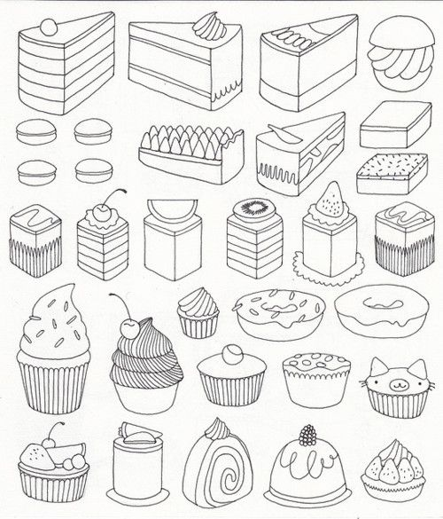 500x585 Drawn Cake Line Drawing