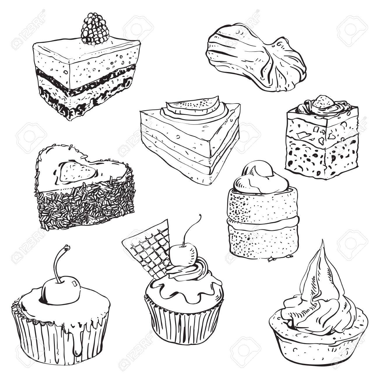 1300x1300 Hand Drawn Illustration Of Some Sweet Cakes Royalty Free Cliparts