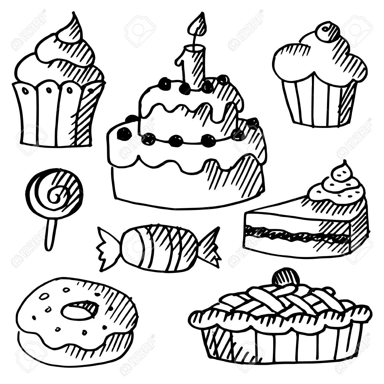 1300x1300 Set Of Various Sweets, Cakes And Cupcakes, Black Isolated Doodle