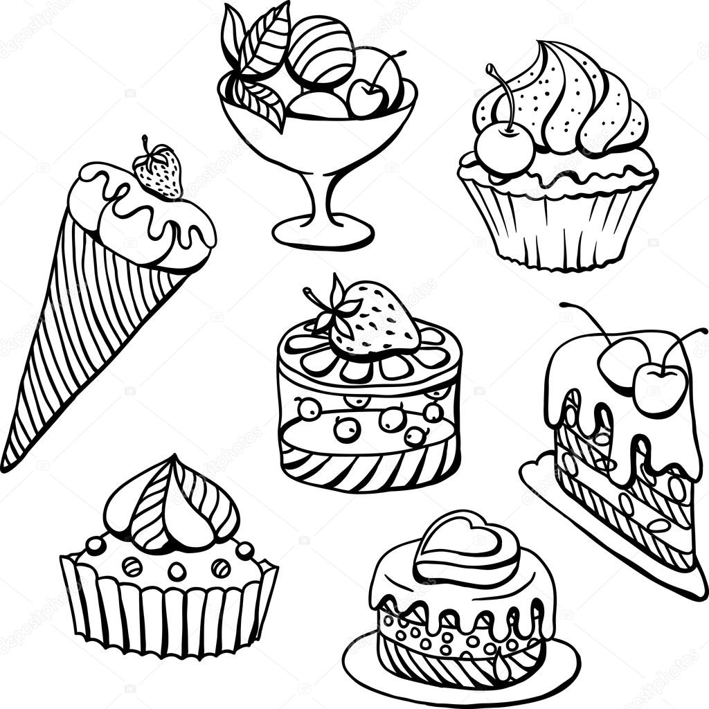 1024x1024 Vector Set Of Cakes In Black. Hand Drawn Illustration. Stock