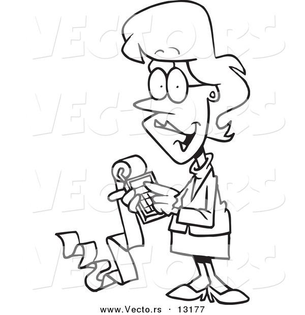 600x620 Vector Of Cartoon Femaleccountant Holding Calculator