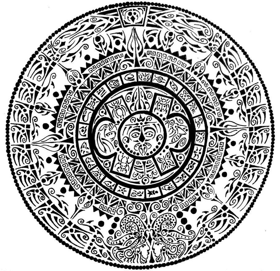 907x880 Aztec Calendar By Curvy Tribal