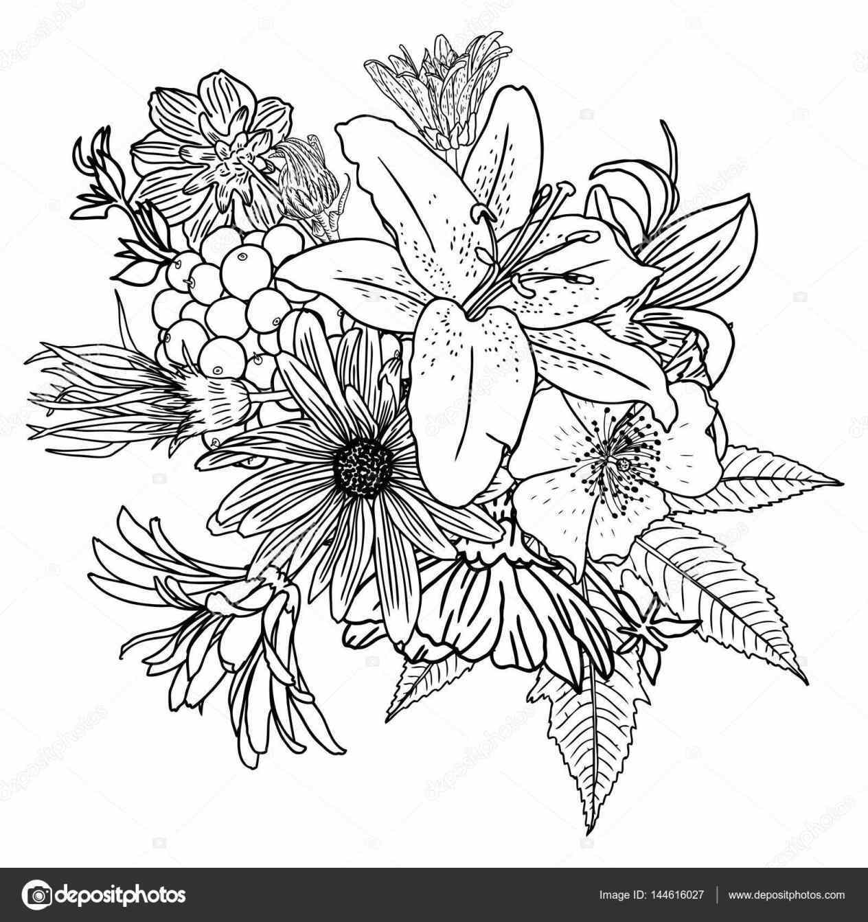 1264x1343 Sketch Stock Vector Bouquet Bunch Of Flowers Drawing California