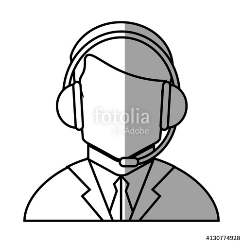 500x500 Operator Man With Headphone Icon. Call Center And Technical