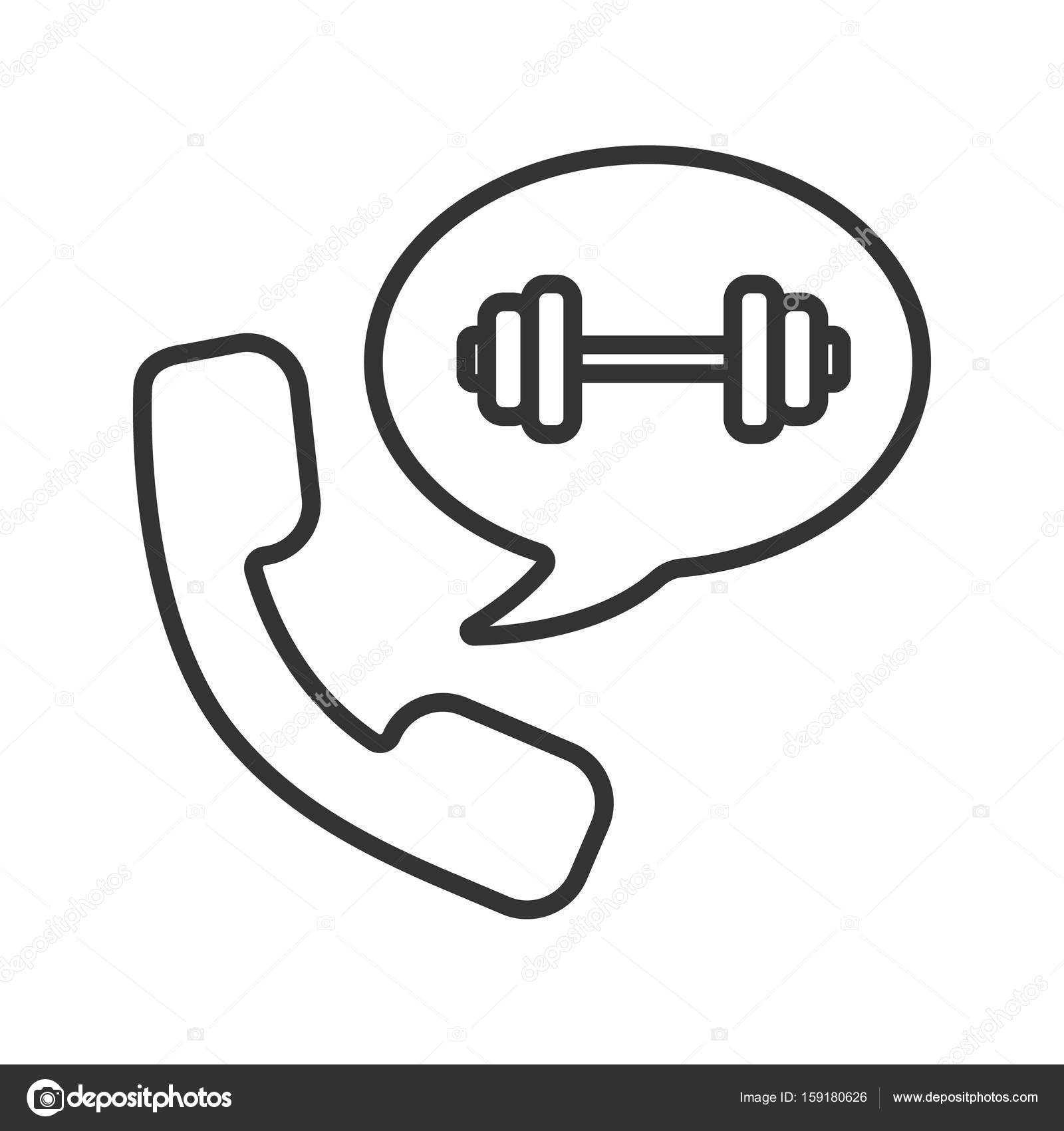 1600x1700 Phone Call To Gym Icon Stock Vector Bsd