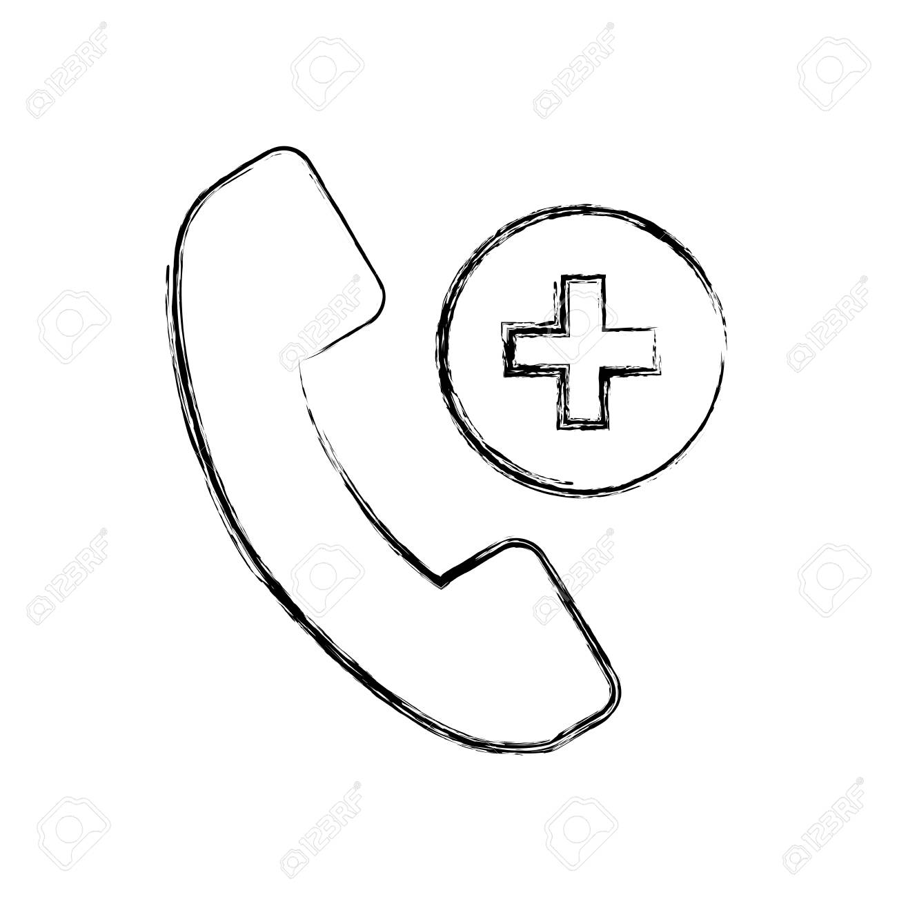 1300x1300 Sketch Draw Emergency Phone Call Cartoon Vector Graphic Design