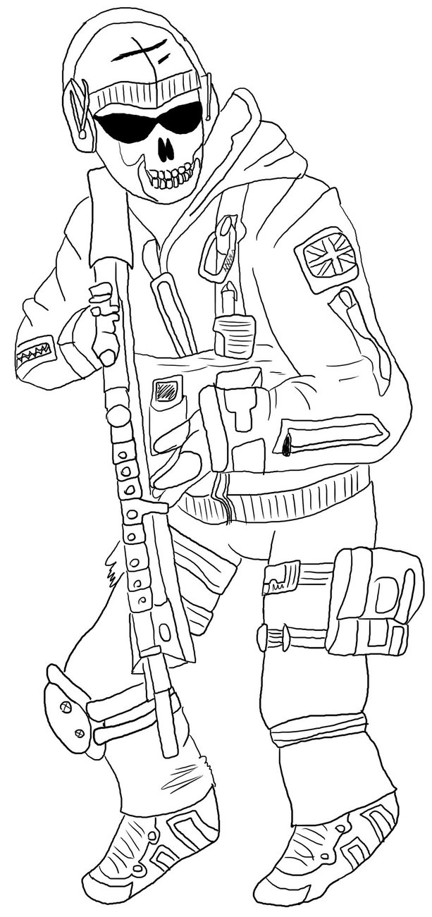 613x1301 Modern Warfare2 Ghost Line Art By Squeakier Hippo