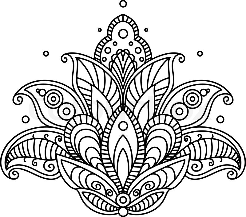 800x707 Pretty Ornate Paisley Flower Design Element In A Dainty Black