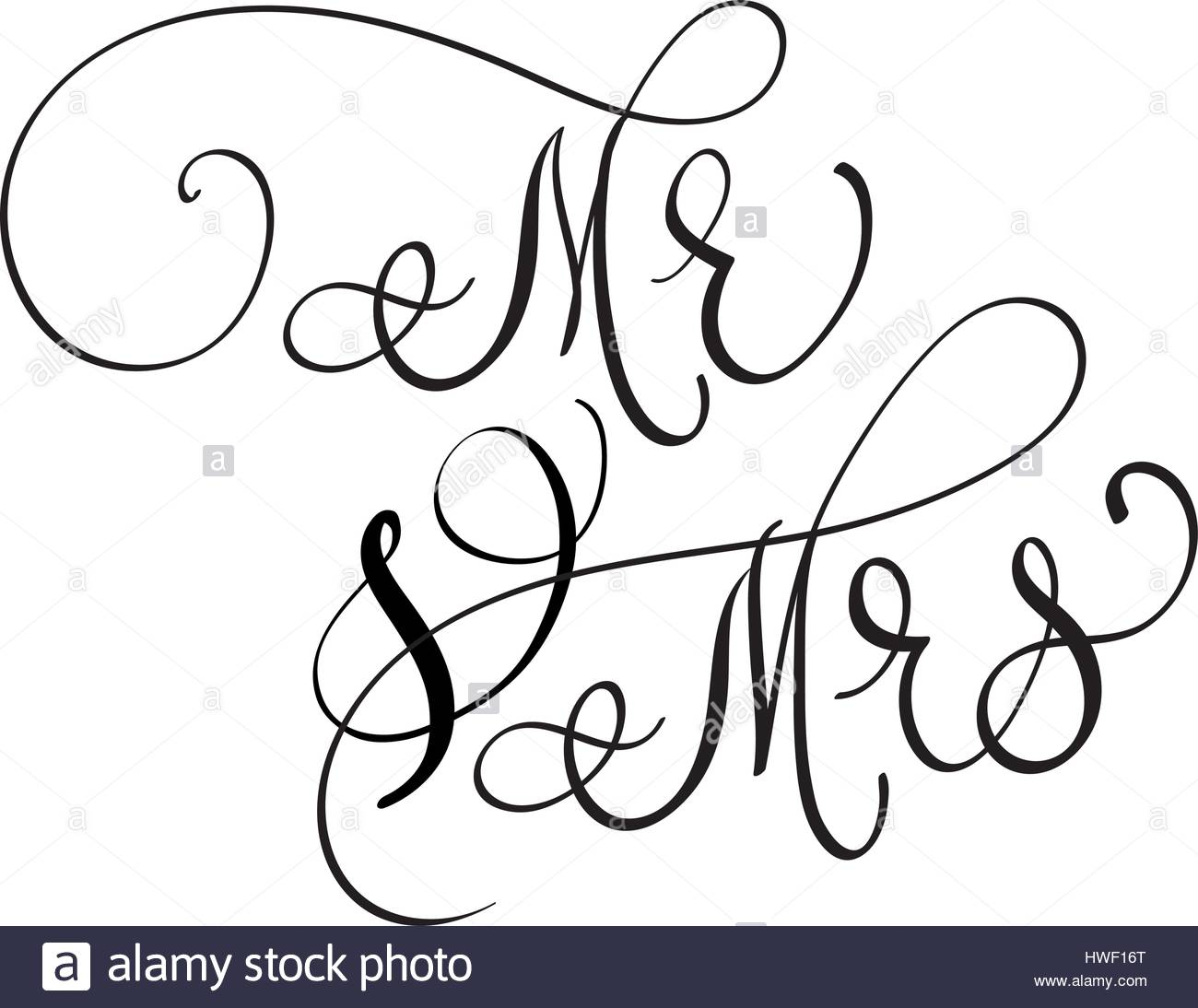 1300x1094 Vector Mr And Mrs Text On White Background. Hand Drawn Calligraphy