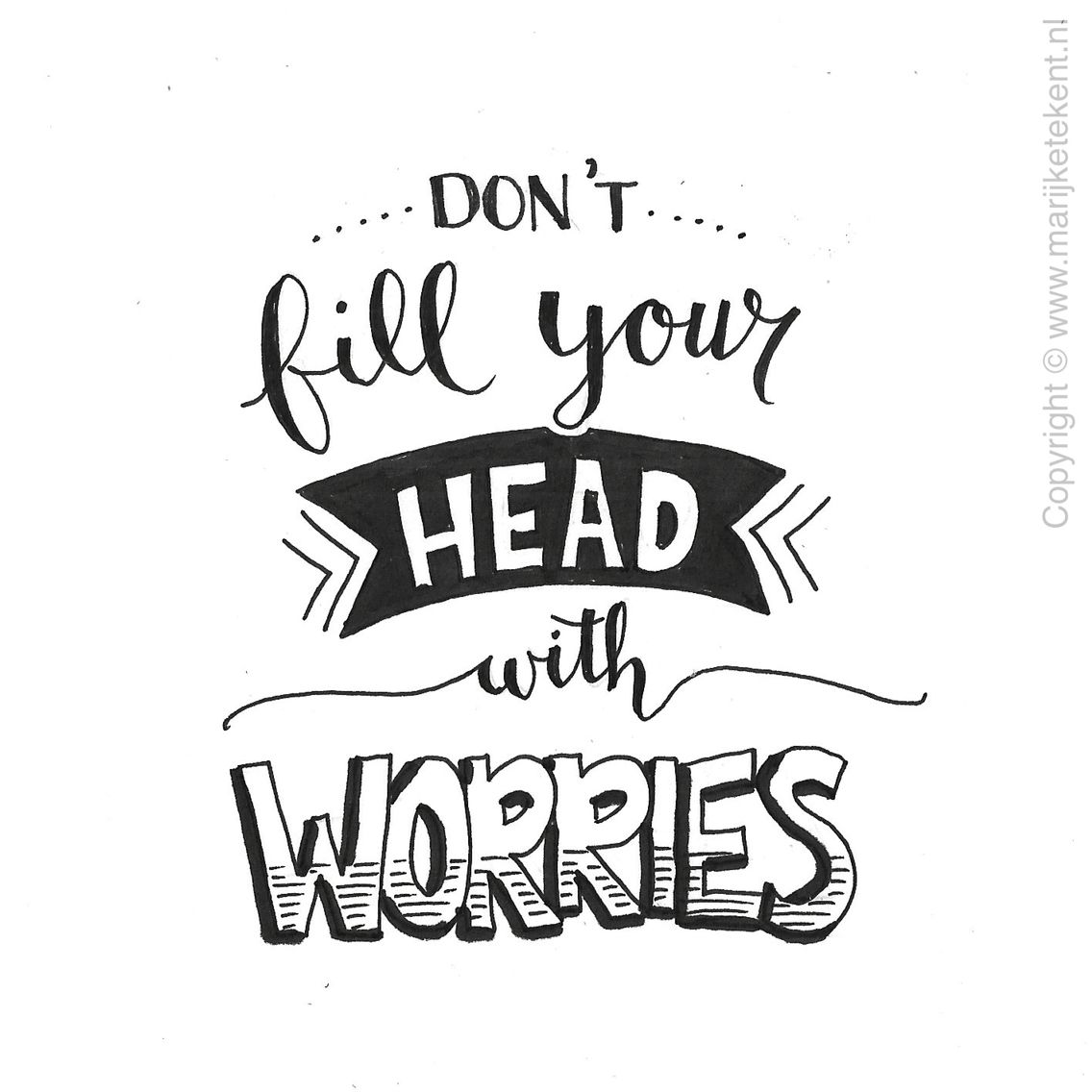 1136x1136 Don'T Fill Your Head With Worries Handwriting Tips