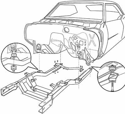 400x365 Exploded View Line Drawing Of Camaro Body And Sub Frame Parts