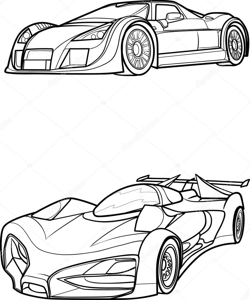 853x1024 Outline Drawing Of Car Outline Drawing Car. Stock Vector