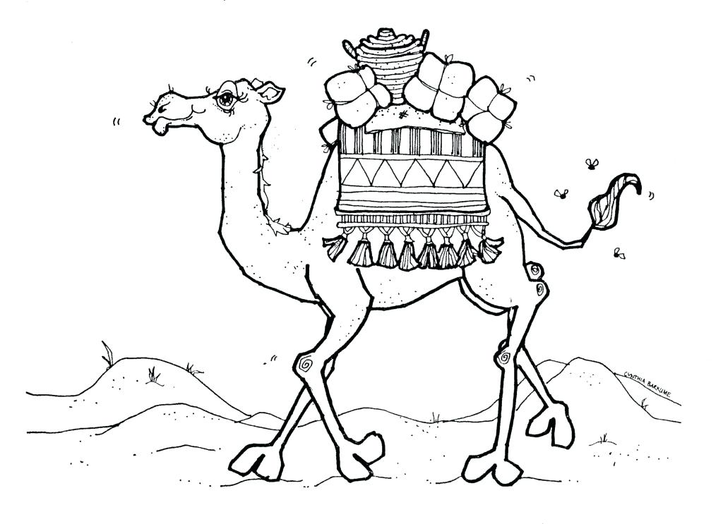 1024x743 Camel Coloring Page Drawn Camels Coloring Page 6 Christmas Camel