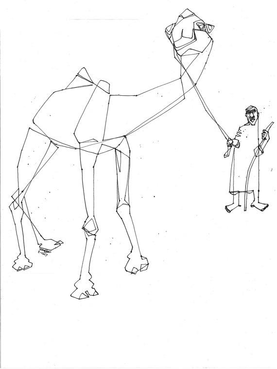 570x759 Camel Man Line Drawing Camel Joky And His Camel Arabian
