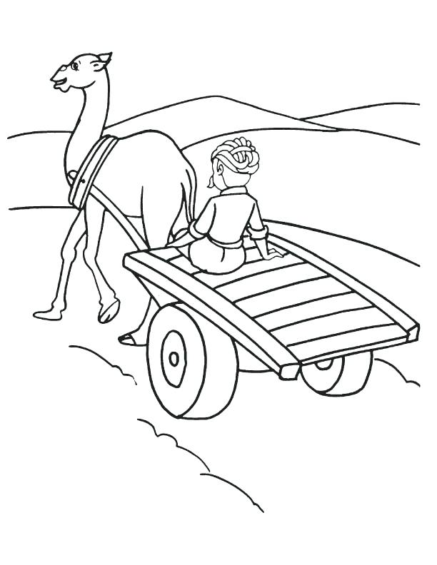 612x792 Desert Coloring Pages Camel Cart In Desert Coloring Page Desert