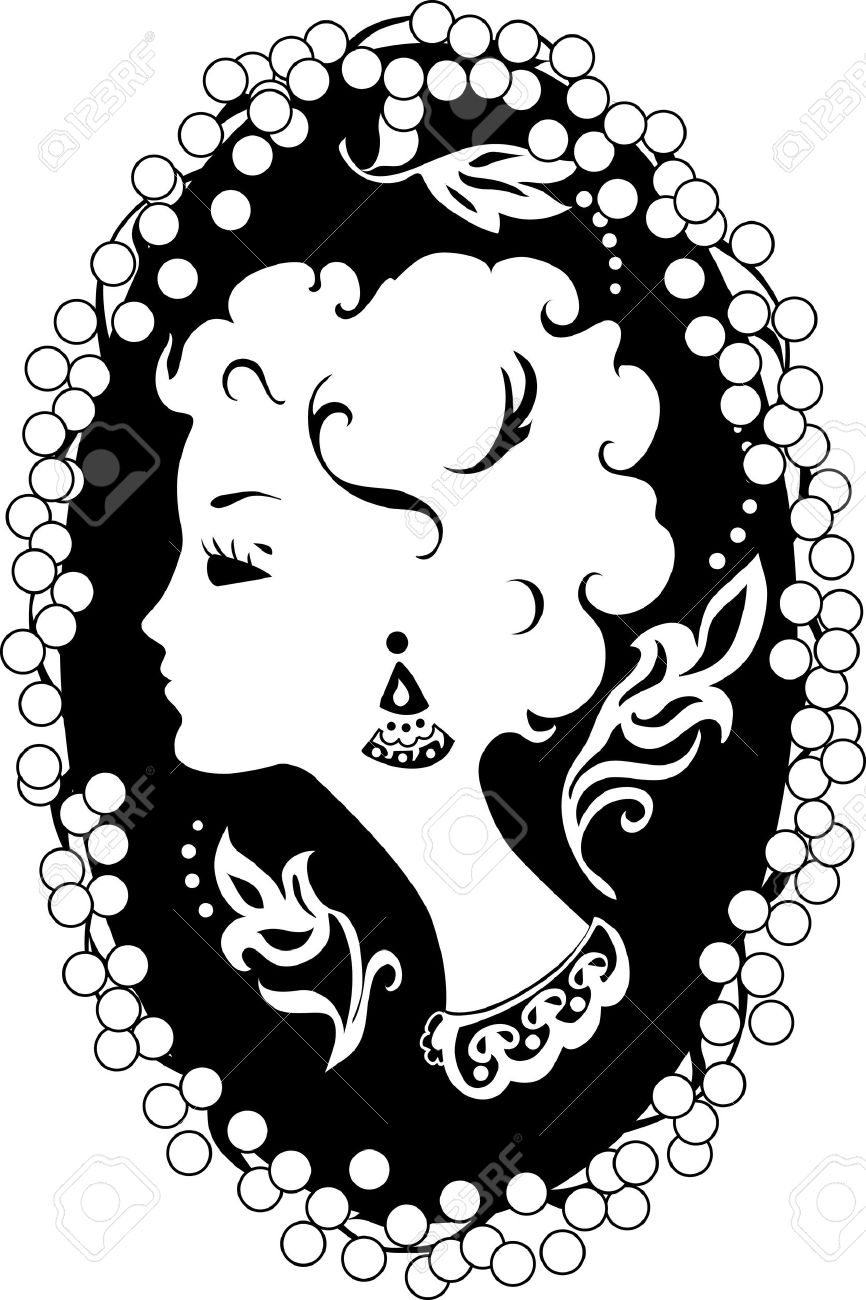 866x1300 Woman Silhouette Vintage Profile In Cameo Royalty Free Cliparts