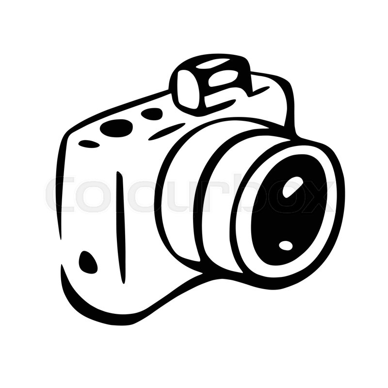 800x800 This Is An Illustration Of Photo Camera Drawing. White Spaces Are