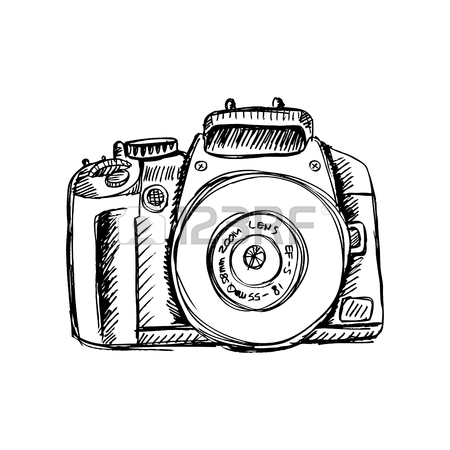 450x450 Two Hands Holding A Camera. Hand Drawing Illustration. Royalty