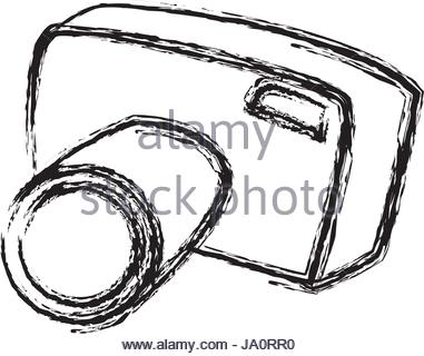 381x320 Doodle Photo Camera. Vector Hand Draw Illustration Stock Vector