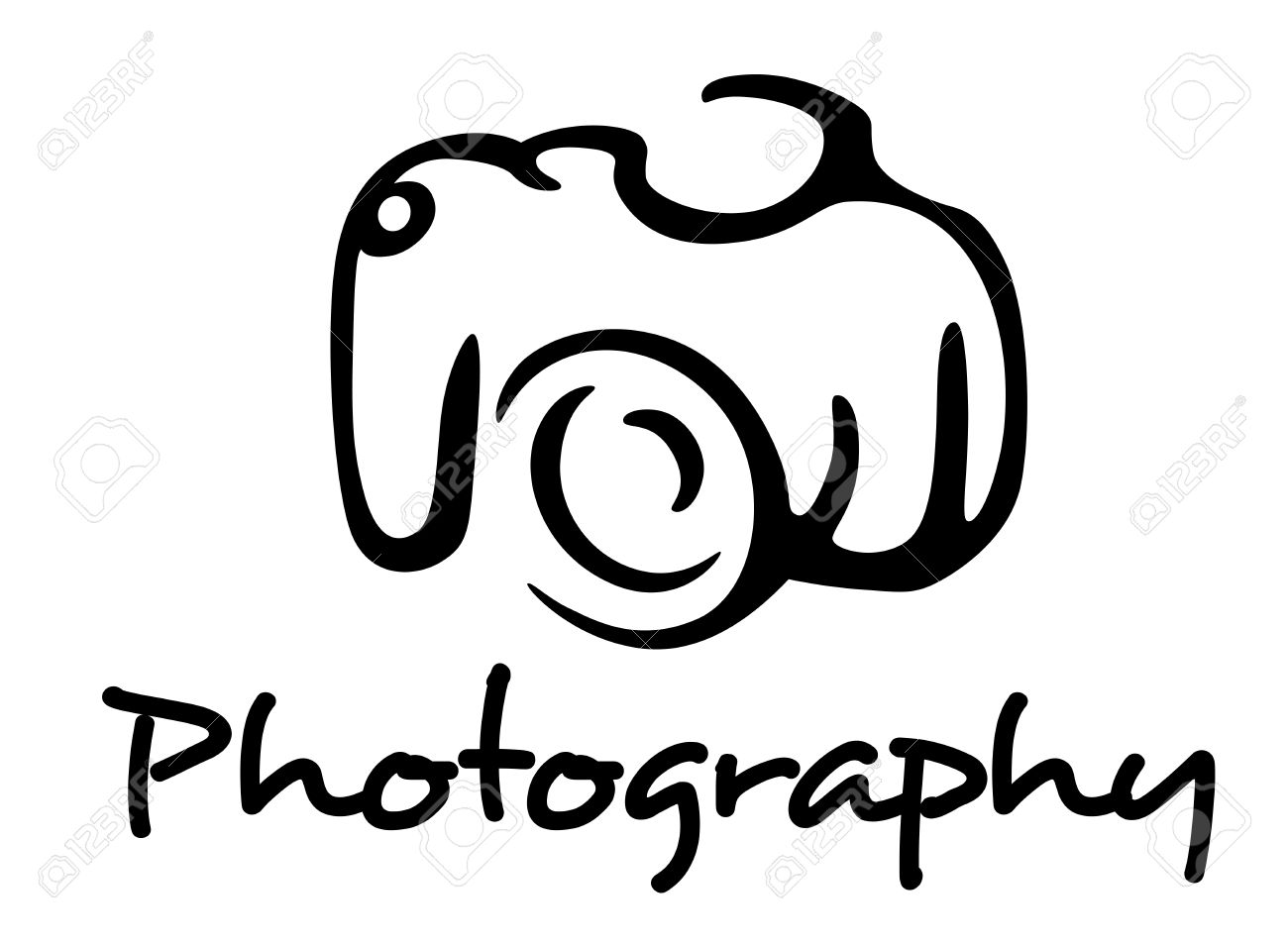 1300x954 Camera And Photography Emblem In Outline Style Isolated On White