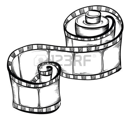 450x419 Collection Of Film Strip Roll And Retro Camera. Hand Drawn Vector