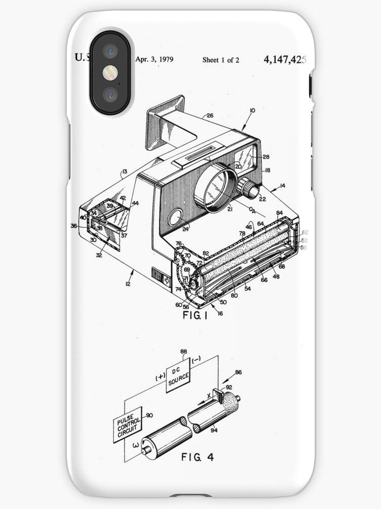 750x1000 Retro Vintage Polaroid Film Camera Patent Drawing Iphone Cases