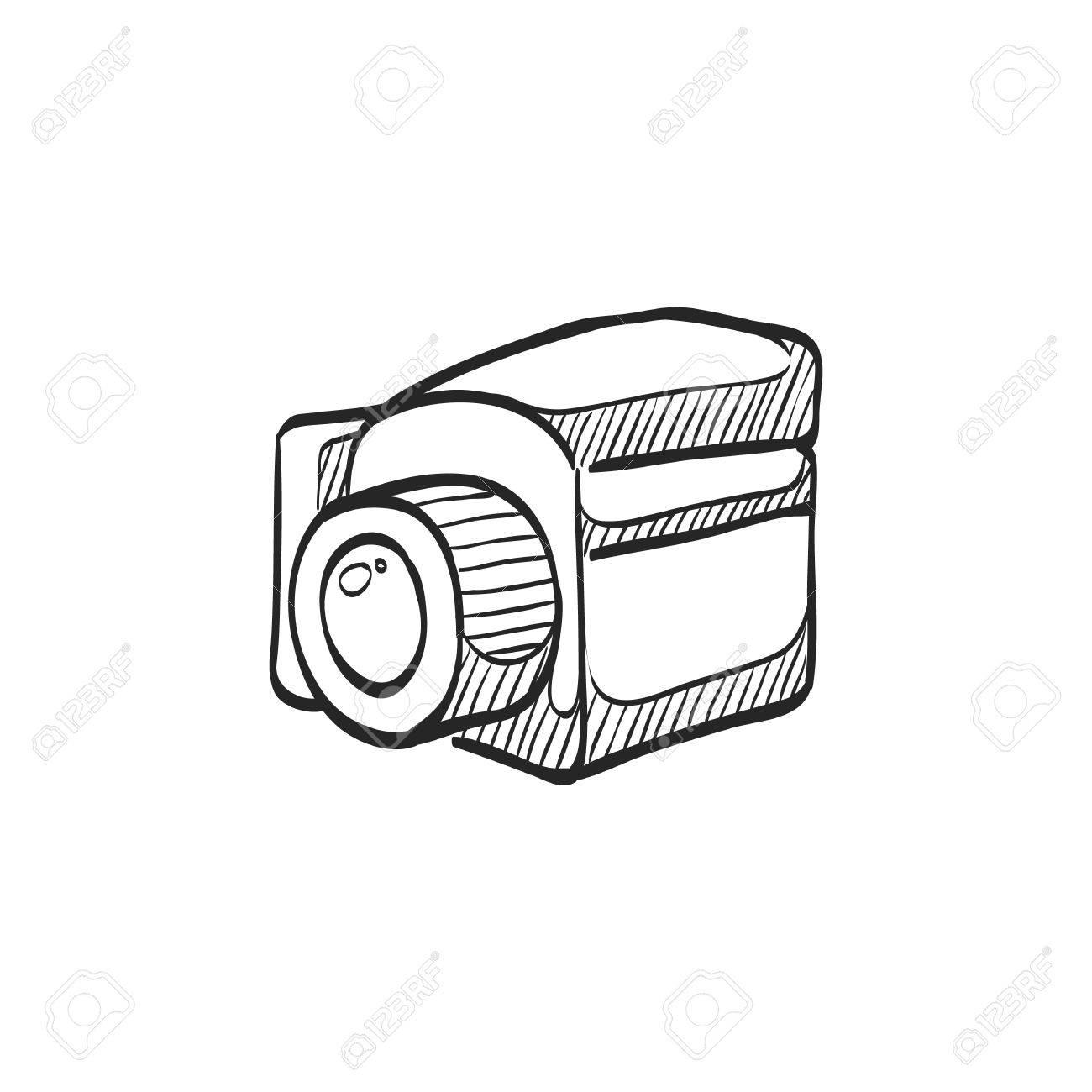 1300x1300 Camera Icon In Doodle Sketch Lines. Vintage Retro Photography