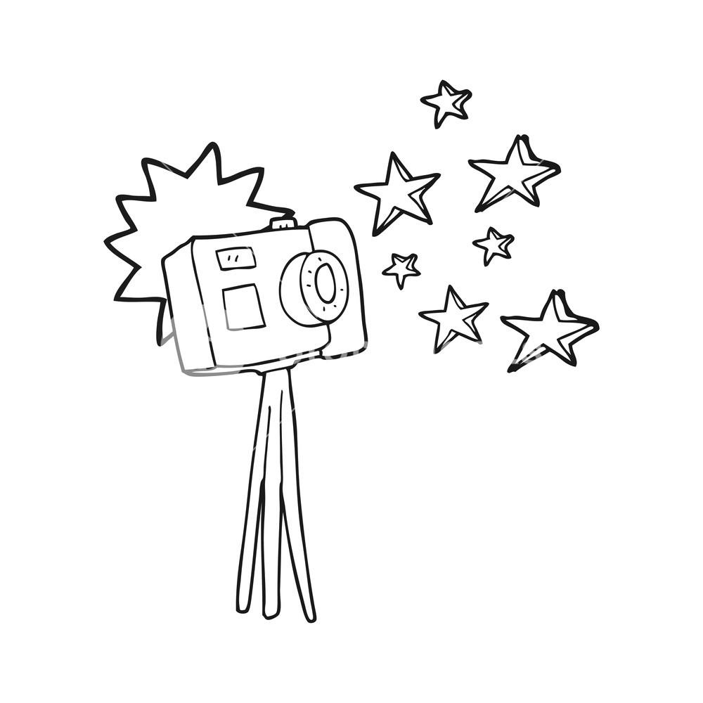 1000x1000 Freehand Drawn Black And White Cartoon Camera On Tripod With Flash