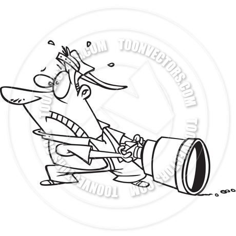 460x460 Cartoon Big Camera Lens (Black And White Line Art) By Ron Leishman
