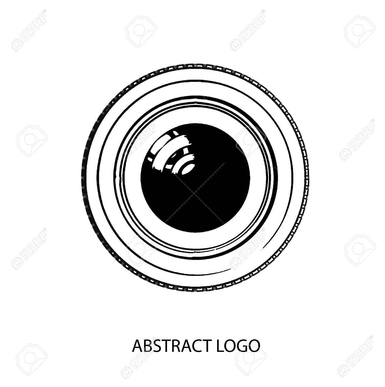 1293x1300 Abstract Icon, Lens And Camera, Studio And Firm. Vector